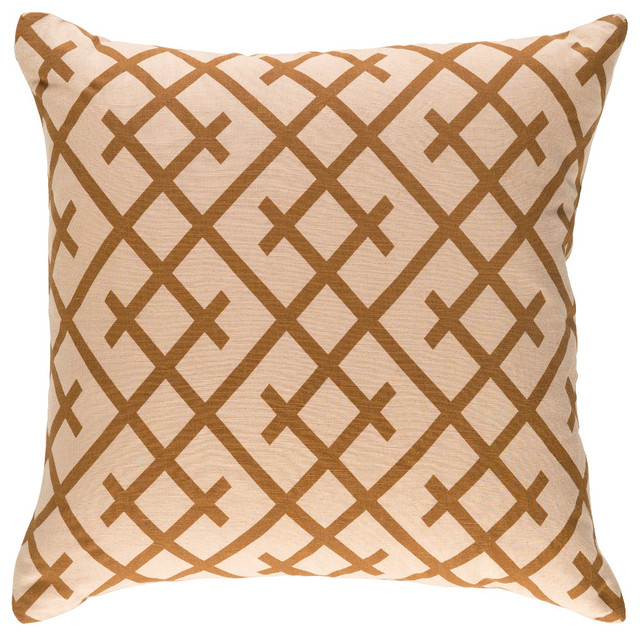 Bohemian, Global Beige and Camel Accent Pillow, 18  x18