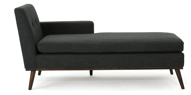 Mid Century Modern Fabric Chaise Lounge, Cushioned Seat and Backrest, Dark Gray