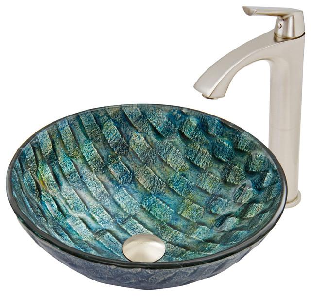 Vigo Oceania Glass Vessel Sink And Linus Faucet Set, Brushed Nickel Finish.