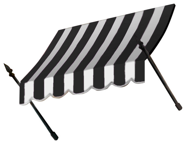 "3&x27; New Orleans Awning, 31"" Hx16"" D, Black/white"