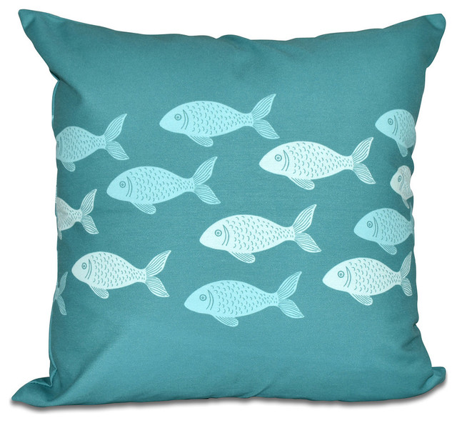 Fish Line, Animal Print Outdoor Pillow - Beach Style - Outdoor Cushions And Pillows - by E by Design
