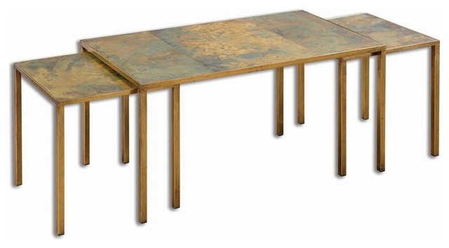 Copper Gold Nesting Coffee Tables, 3-Piece Set
