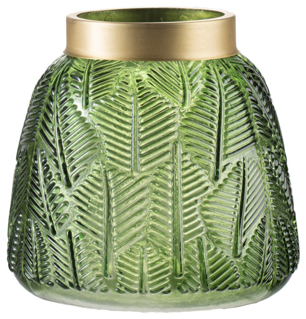 Fern Vase in Green And Gold