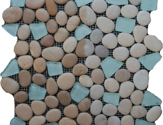 12 X12 Sea Gl Tile And Pebbles Spring Brook Mosaic Blend