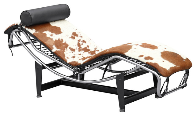 Fine Mod Imports Adjustable Chaise In Pony, Brown And White.