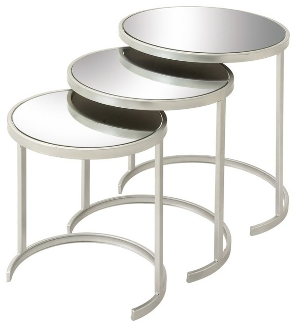 Well Designed Metal Mirror Act Table Set Of 3