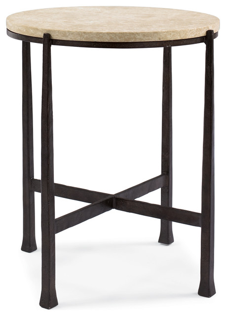 Norfolk Industrial Loft Round Metal Stone Patio End Table Transitional Side  Tables And