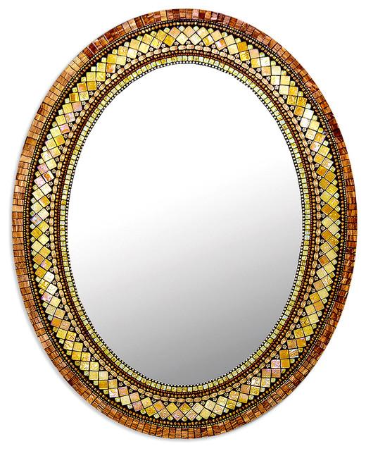 Golden Bronze Mosaic Mirror, Oval.