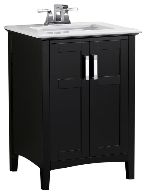 "Morris Bathroom Vanity With White Marble Top, 25"" transitional-bathroom- vanities-"