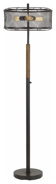 60w X 3 Dawson Metal/wood Floor Lamp With Metal Mesh Shade.