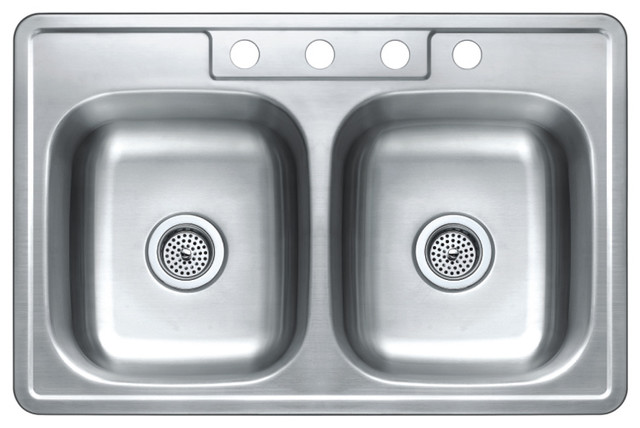 """Top-Mount Double-Bowl Stainless Steel Kitchen Sink, 33""""x22""""."""