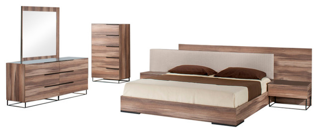 Nova Domus Matteo Italian Modern Walnut 5-Piece Bedroom Set, Eastern King