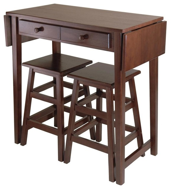 Mercer 3 Pc Island Table Set Transitional Indoor Pub