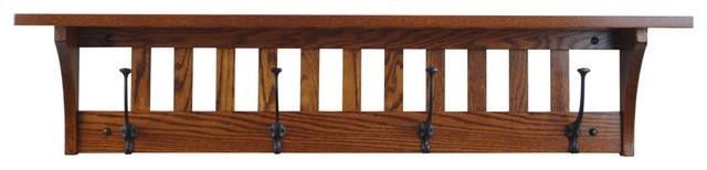 """Mission Coat Rack Shelf, Wall Mounted, 4 Hooks 42"""", Solid Oak Wood, Michaels."""