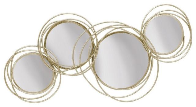 Looped Gold 4 Circle Mirrors, Gold Circles Mirror Wall Decoration