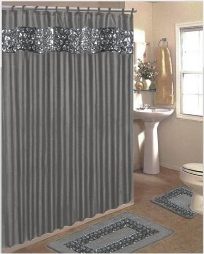 sinatra bling jacquard silver gray fabric shower curtain shower rings area rug