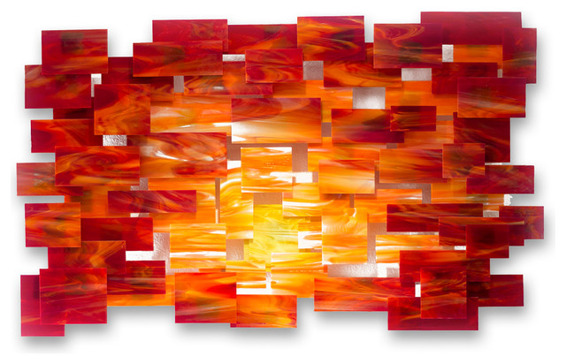 "Orange Wall Art glass and metal wall sculpture ""sunset"" - modern - metal wall art"
