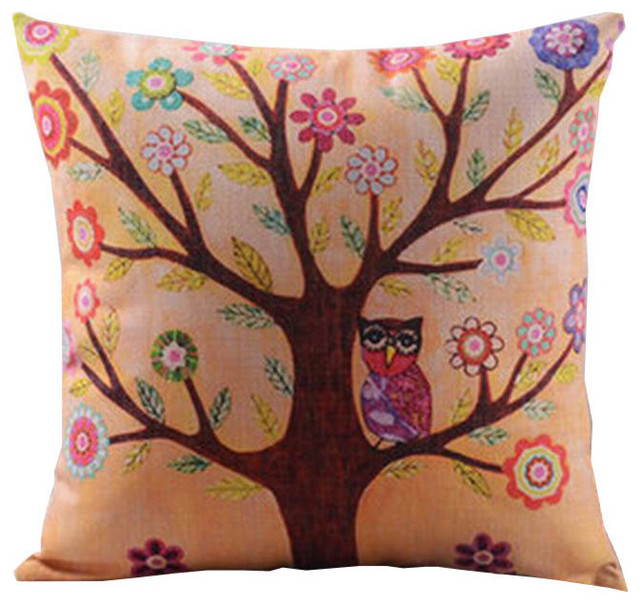 Throw Pillow Cover Cushion Cover, Cotton Linen, Owl And Tree.