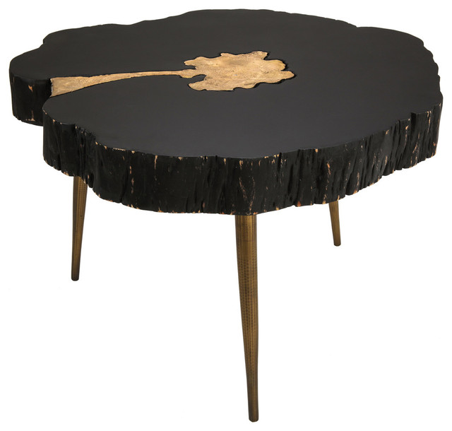 Timber Black And Br Gold Glam Rustic Coffee Table