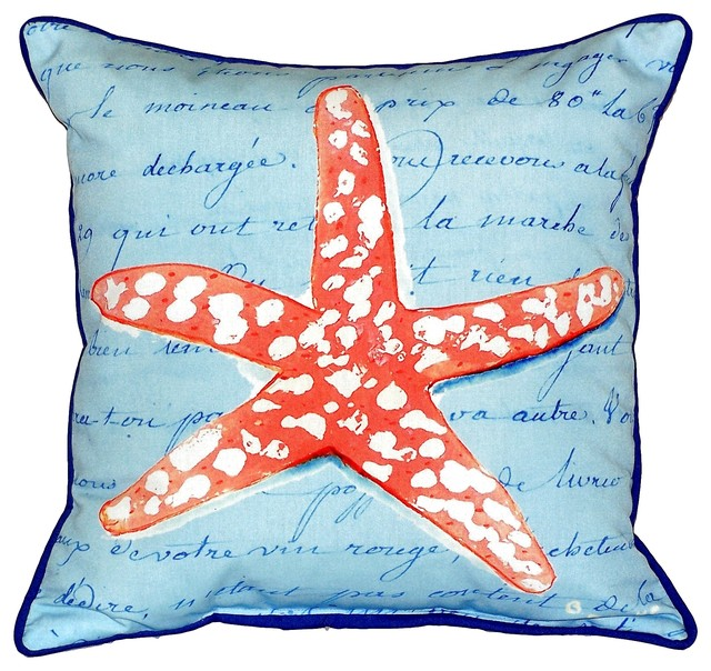 Coral Starfish Extra Large Zippered Indoor/Outdoor Pillow ...