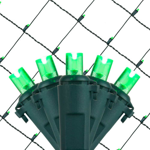 Wintergreen Lighting 72508 100-Bulb 4&x27;x6&x27; Led Decorative Holiday Net Light Green.