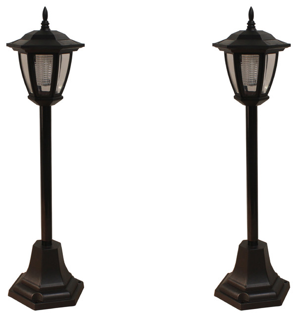 Compact solar powered vintage lamp post lights set of 2 compact solar powered vintage lamp post lights aloadofball Image collections