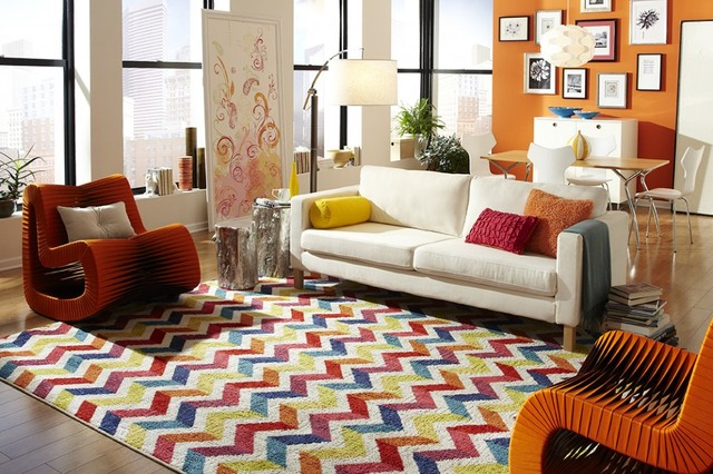 Mohawk Home Chevron Pattern Rugs Contemporary Living Room
