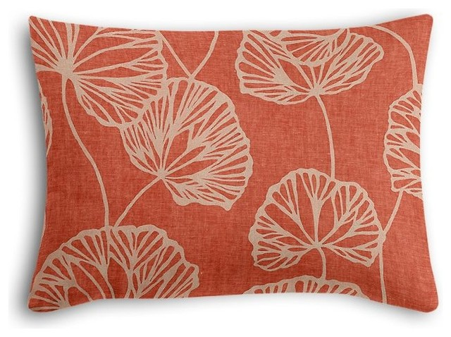 Shop Houzz Loom Decor Modern Coral Red Leaf Boudoir Pillow - Decorative Pillows