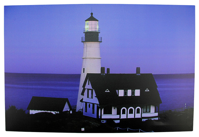 """Battery Operated 1 Led Sunset Lighthouse Scene Canvas Wall Hanging, 23.5""""."""