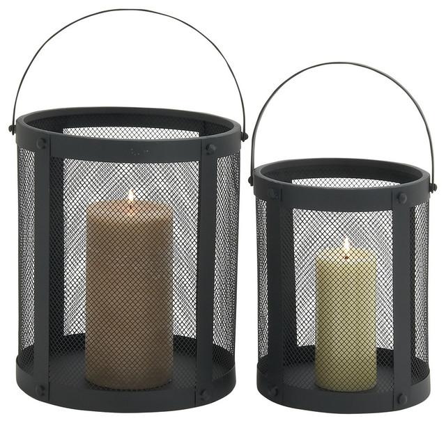 """Metal Candle Lanterns, 2-Piece Set, 15"""", 17"""""""