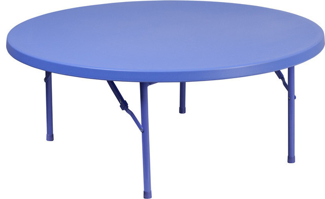 Flash Furniture 48 Round Kid S Blue Plastic Folding Table Contemporary Kids Tables And Chairs By Gwg Outlet