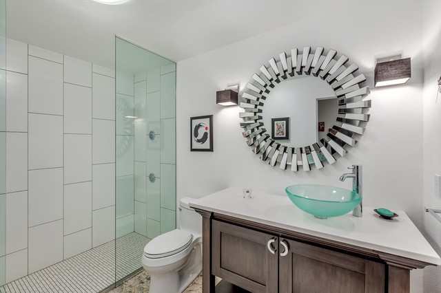 Powder room - small modern white tile and ceramic tile green floor powder room idea in Portland with shaker cabinets, dark wood cabinets, a one-piece toilet, white walls, a vessel sink, engineered quartz countertops and white countertops