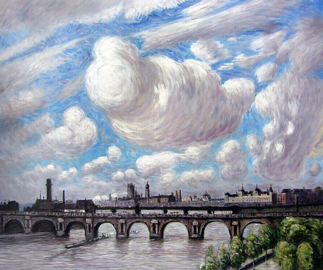 "Claus ""Waterloo Bridge In The Sun, 1916"" Oil Painting"