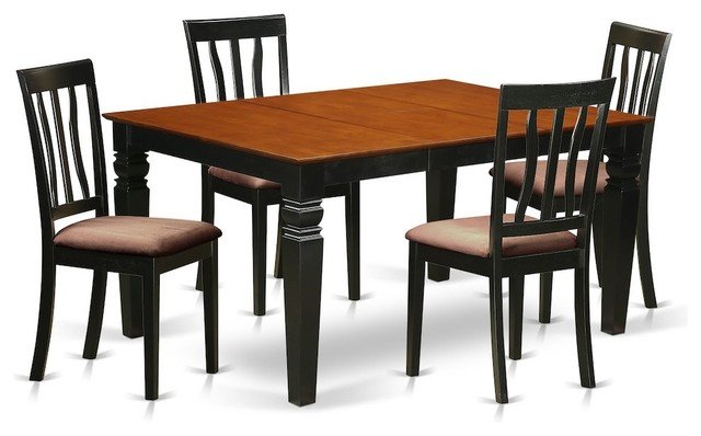 5-Piece Kitchen Table Set, a Dining Table and 4 Microfiber Chairs, Black,  Cherry