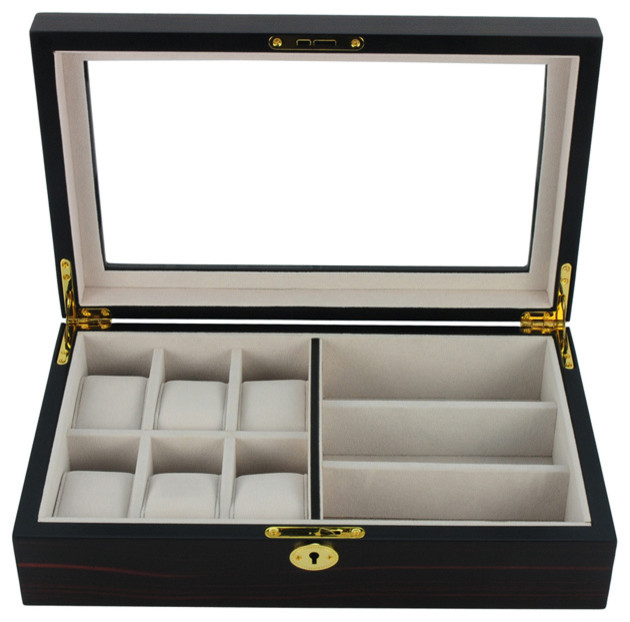 6-Watch And 3-Glasses Display Case, Ebony Wood.