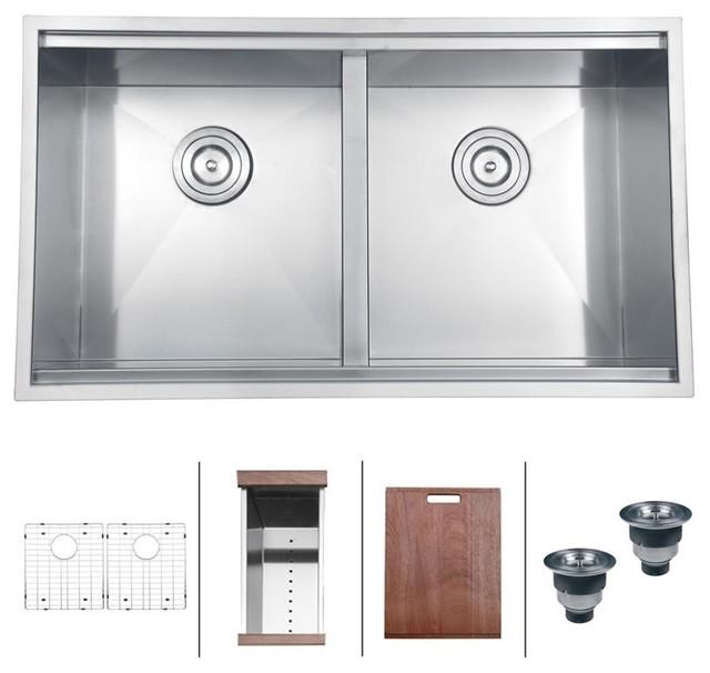 """Rvh8350 Undermount 16 Gauge 33"""" Kitchen Sink, Double Bowl."""