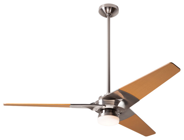 "Modern Fan Torsion Led-Light Bright Nickel 52"" Ceiling Fan With Wall Control."
