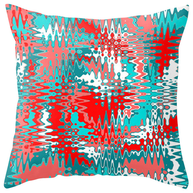 Paint Drip Outdoor Throw Pillow, Red And Turquoise Contemporary Outdoor  Cushions And