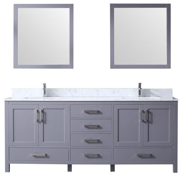 80 Double Vanity With Carrera Marble Top, Sinks, 30 Mirrors, Dark Gray.
