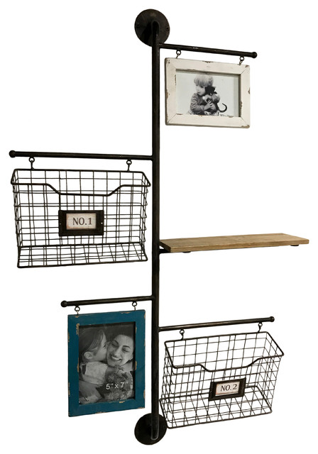 Metal 2 basket wall file organizer with 2 photo frames for Picture frame organization wall