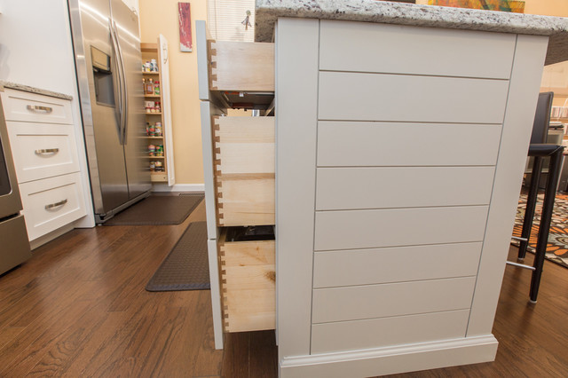 White Shaker Style Kitchen Cabinets With Shiplap Style