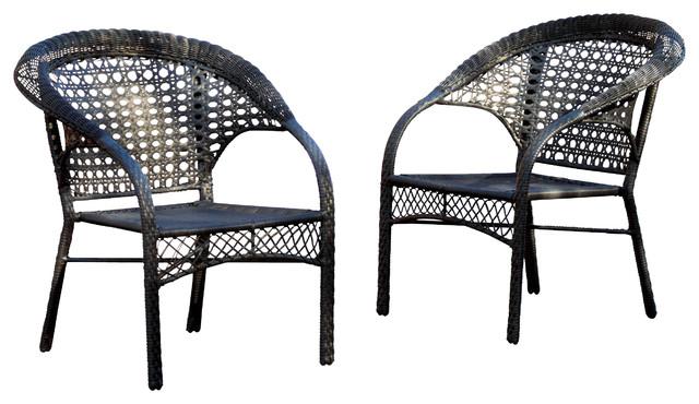 Malibu Black Wicker Outdoor Chair