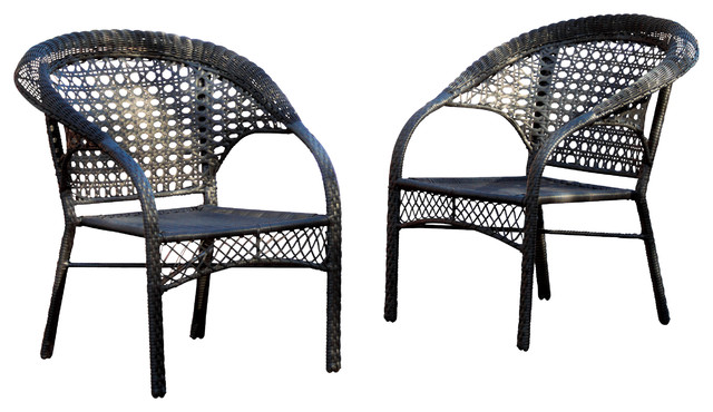 Malibu Black Wicker Outdoor Chair Tropical Outdoor Lounge - Malibu outdoor furniture