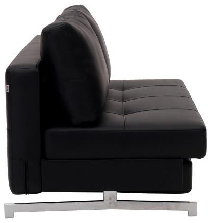 Modern Black Leather Textile Queen Sofa Sleeper By IDO contemporary sleeper sofas