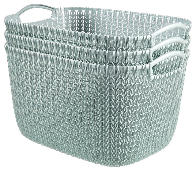 Curver Sand Knit Storage Baskets: Curver By KNIT Style Resin Rectangular 3-Piece Large