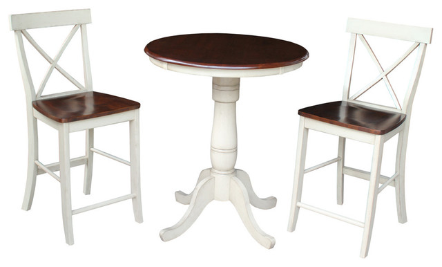 Ford Round Extension Table And X Back Counter Stools Set