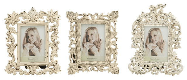Aveline 3 Piece Photo Frame Set Vintage White Traditional