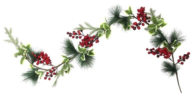 5&x27; Artificial Berry Holly Leaves And Pine Needles Christmas Garland, Unlit.