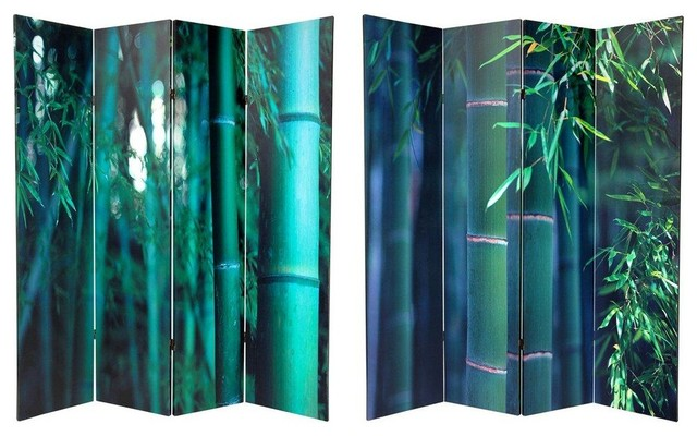 6 Ft Tall Double Sided Bamboo Tree Canvas Room Divider 4 Panel Asian Screens