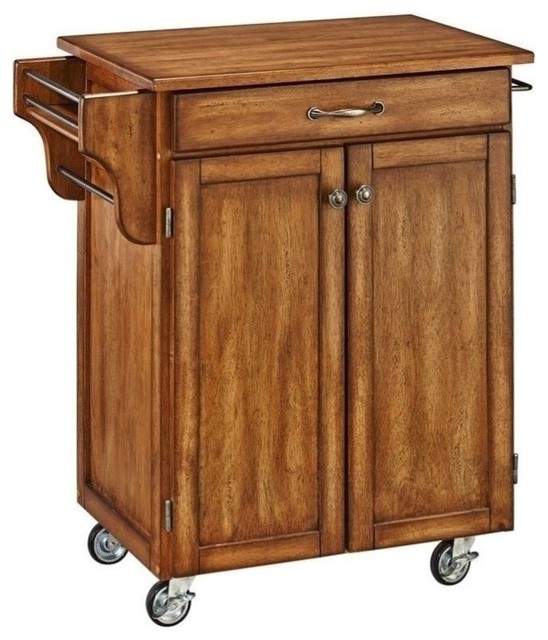 Hawthorne Collections Wood Top Kitchen Cart Warm Oak
